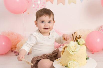Annie Gower-Jones Photography first birthday cake smash baby photoshoot Manchester Cheshire Altrincham Hale